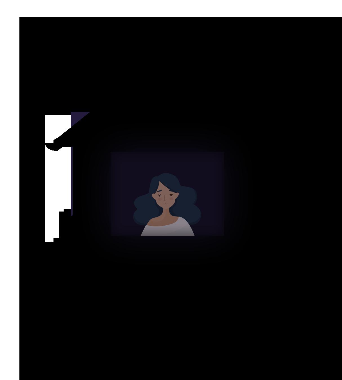 Mlada djevojka u mračnoj kući gleda kroz prozor jer ne može spavati